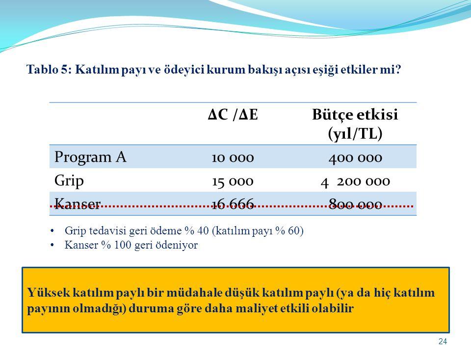 ΔC /ΔE Bütçe etkisi (yıl/TL)