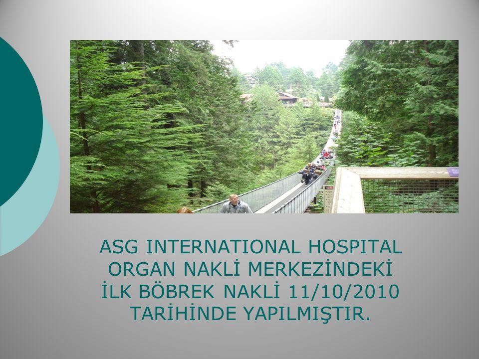 ASG INTERNATIONAL HOSPITAL ORGAN NAKLİ MERKEZİNDEKİ İLK BÖBREK NAKLİ 11/10/2010 TARİHİNDE YAPILMIŞTIR.