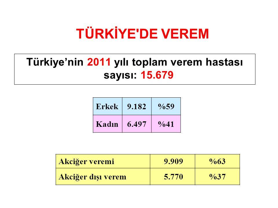 Türkiye'nin 2011 yılı toplam verem hastası sayısı: 15.679