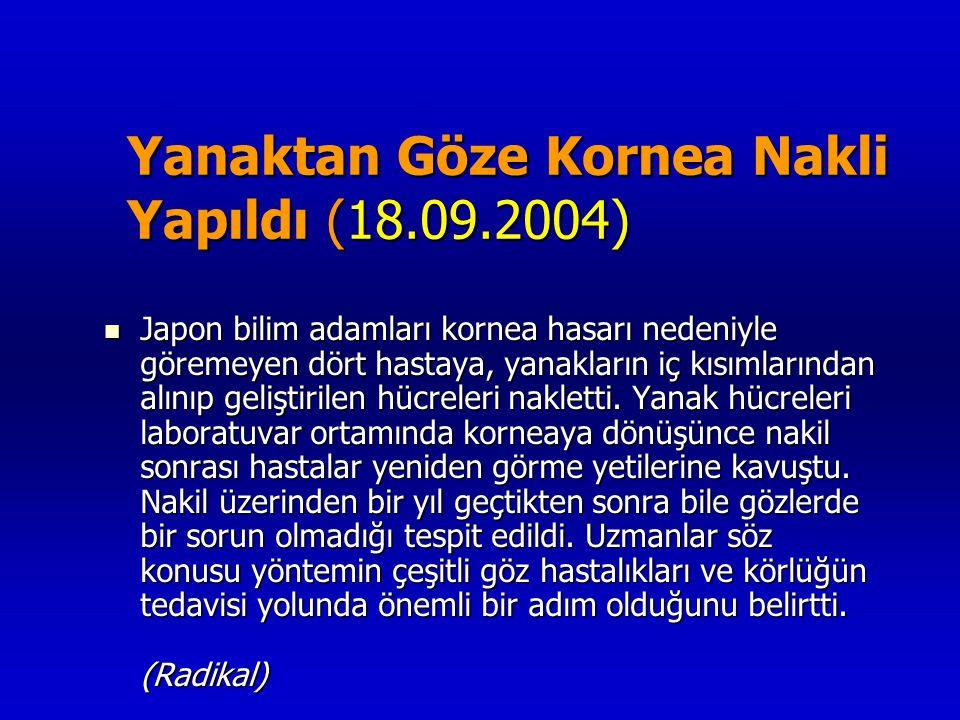 Yanaktan Göze Kornea Nakli Yapıldı (18.09.2004)