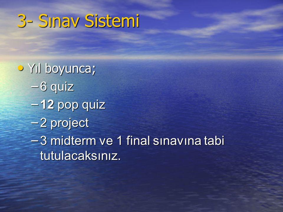 3- Sınav Sistemi Yıl boyunca; 6 quiz 12 pop quiz 2 project