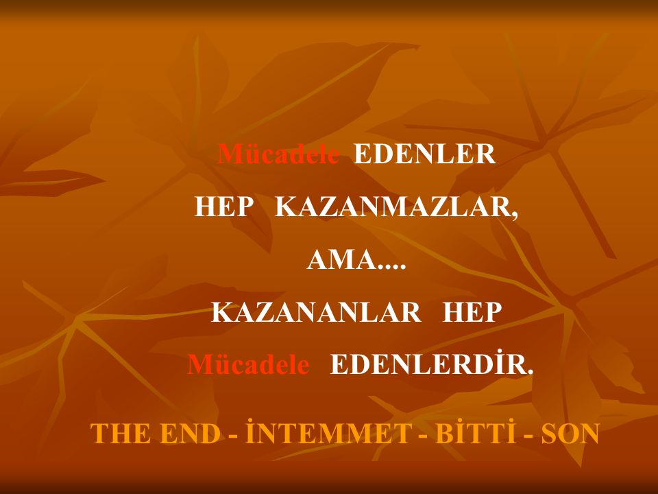 THE END - İNTEMMET - BİTTİ - SON