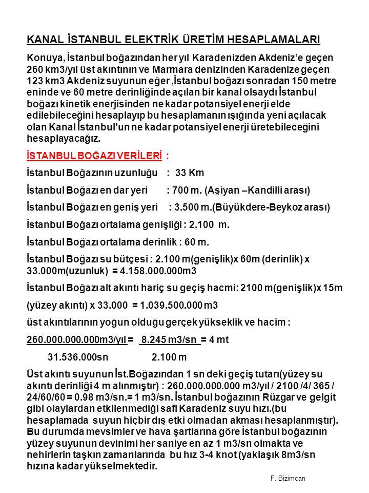 KANAL İSTANBUL ELEKTRİK ÜRETİM HESAPLAMALARI