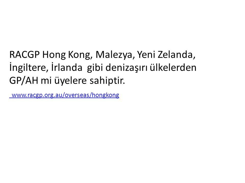 RACGP Hong Kong, Malezya, Yeni Zelanda, İngiltere, İrlanda gibi denizaşırı ülkelerden GP/AH mi üyelere sahiptir.