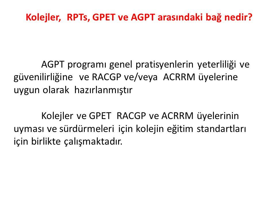 Kolejler, RPTs, GPET ve AGPT arasındaki bağ nedir