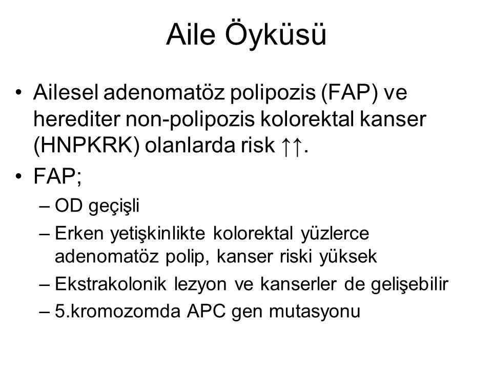 Aile Öyküsü Ailesel adenomatöz polipozis (FAP) ve herediter non-polipozis kolorektal kanser (HNPKRK) olanlarda risk ↑↑.