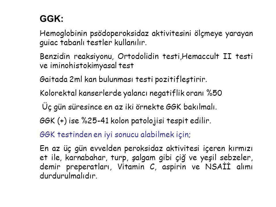 GGK: Hemoglobinin psödoperoksidaz aktivitesini ölçmeye yarayan guiac tabanlı testler kullanılır.