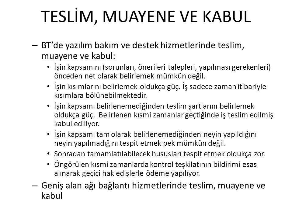 TESLİM, MUAYENE VE KABUL