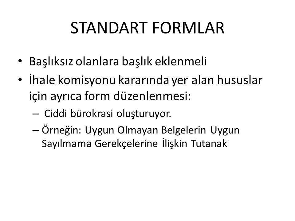 STANDART FORMLAR Başlıksız olanlara başlık eklenmeli