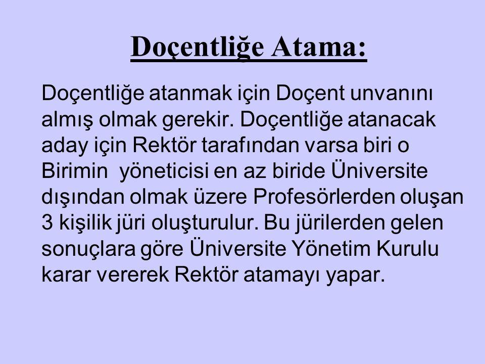 Doçentliğe Atama: