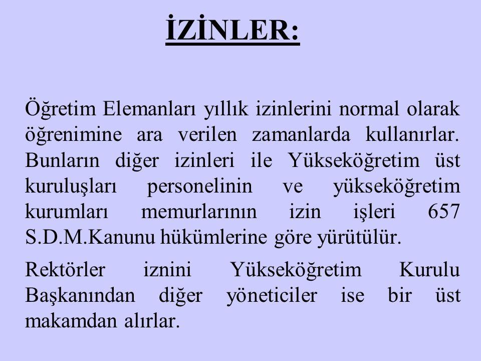 İZİNLER: