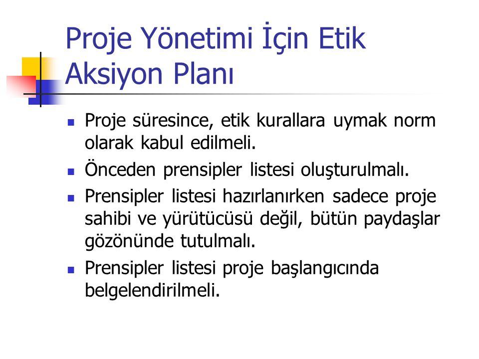Proje Yönetimi İçin Etik Aksiyon Planı