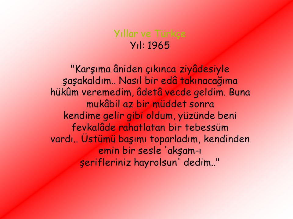 Yıllar ve Türkçe