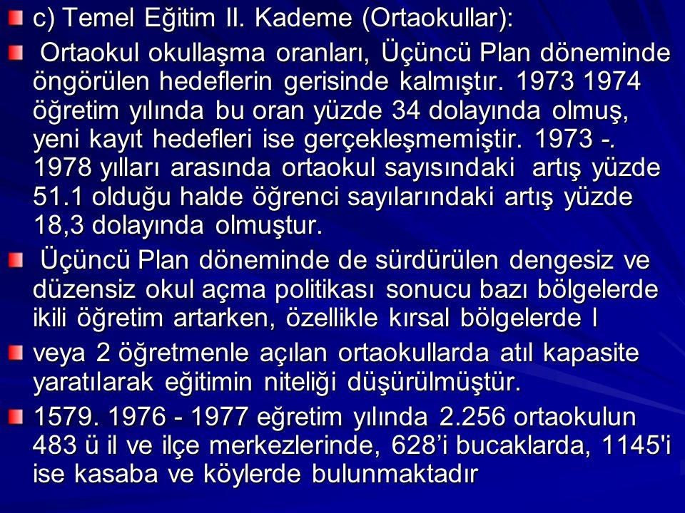 c) Temel Eğitim II. Kademe (Ortaokullar):