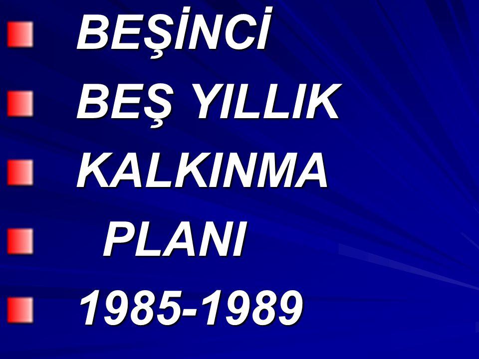 BEŞİNCİ BEŞ YILLIK KALKINMA PLANI 1985-1989