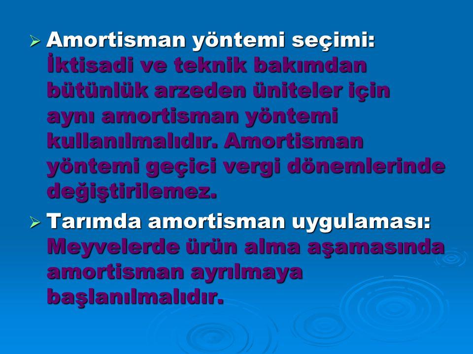 Amortisman yöntemi seçimi: İktisadi ve teknik bakımdan bütünlük arzeden üniteler için aynı amortisman yöntemi kullanılmalıdır. Amortisman yöntemi geçici vergi dönemlerinde değiştirilemez.