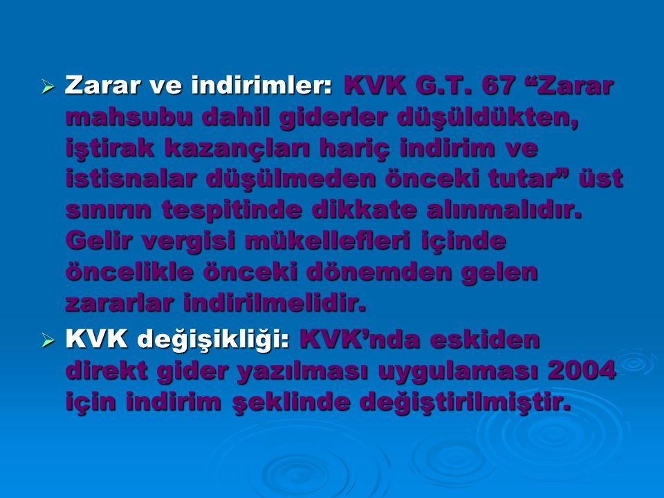 Zarar ve indirimler: KVK G. T