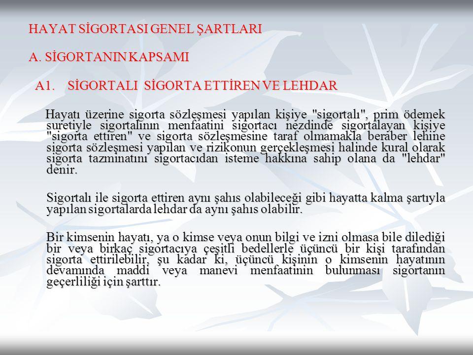 HAYAT SİGORTASI GENEL ŞARTLARI A. SİGORTANIN KAPSAMI