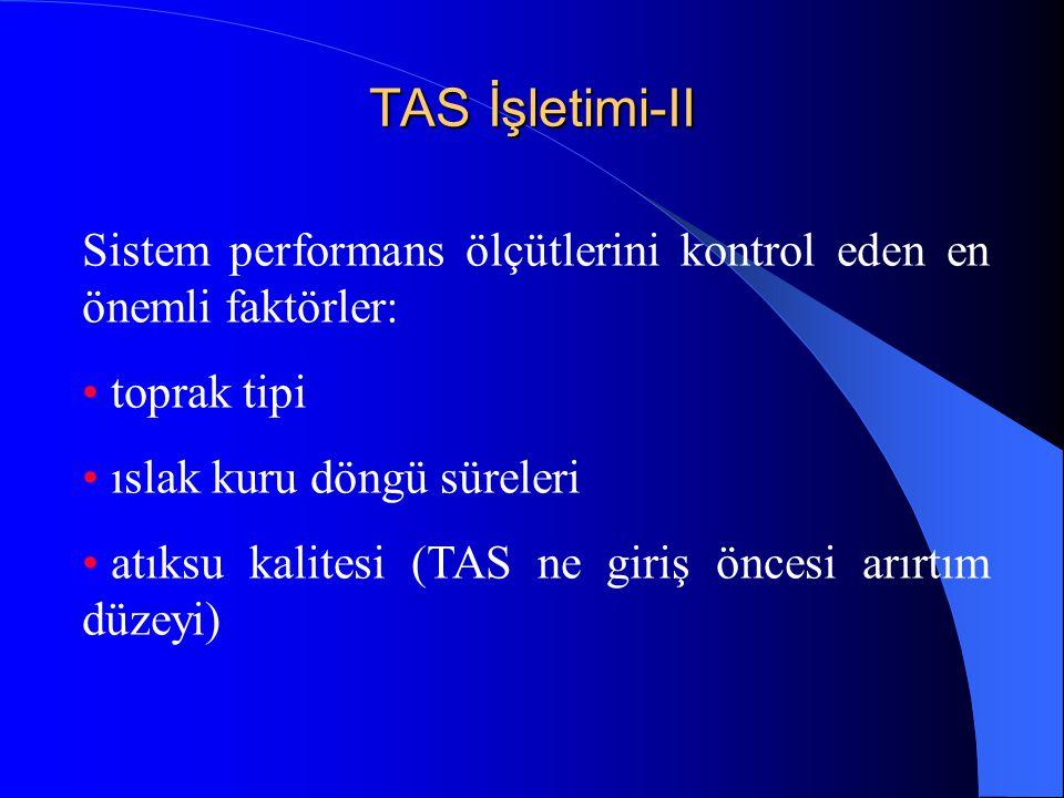 TAS İşletimi-II Sistem performans ölçütlerini kontrol eden en önemli faktörler: toprak tipi. ıslak kuru döngü süreleri.