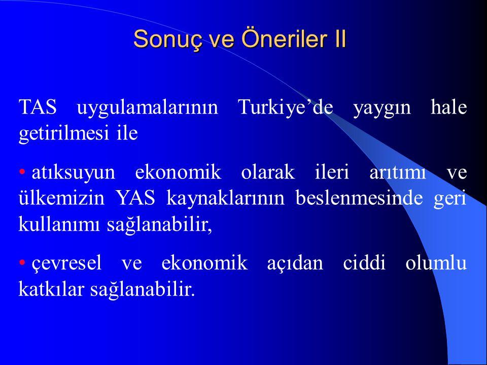 Sonuç ve Öneriler II TAS uygulamalarının Turkiye'de yaygın hale getirilmesi ile.