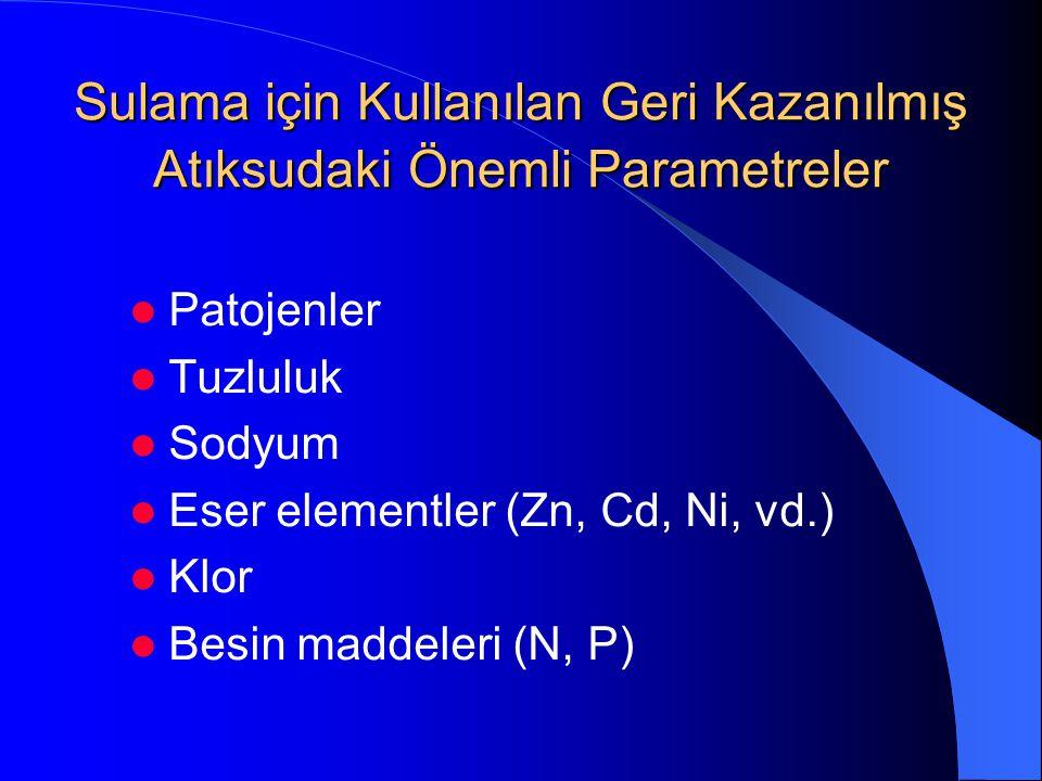 Sulama için Kullanılan Geri Kazanılmış Atıksudaki Önemli Parametreler
