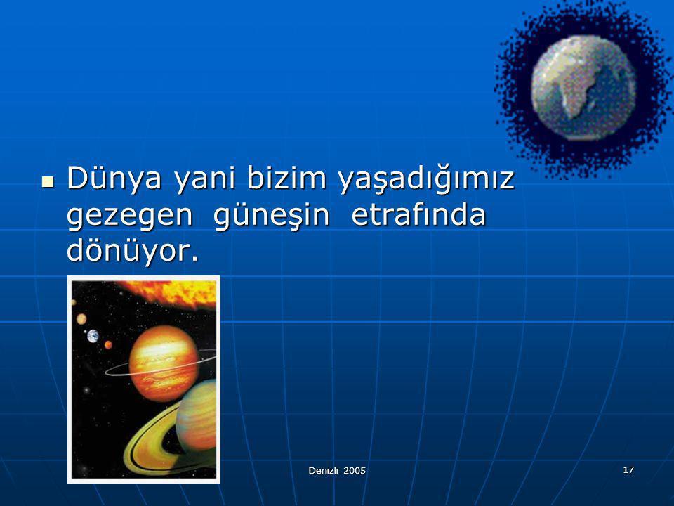Dünya yani bizim yaşadığımız gezegen güneşin etrafında dönüyor.