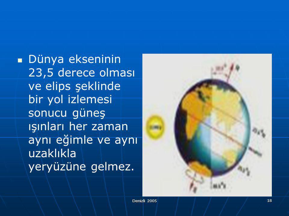 Dünya ekseninin 23,5 derece olması ve elips şeklinde bir yol izlemesi sonucu güneş ışınları her zaman aynı eğimle ve aynı uzaklıkla yeryüzüne gelmez.