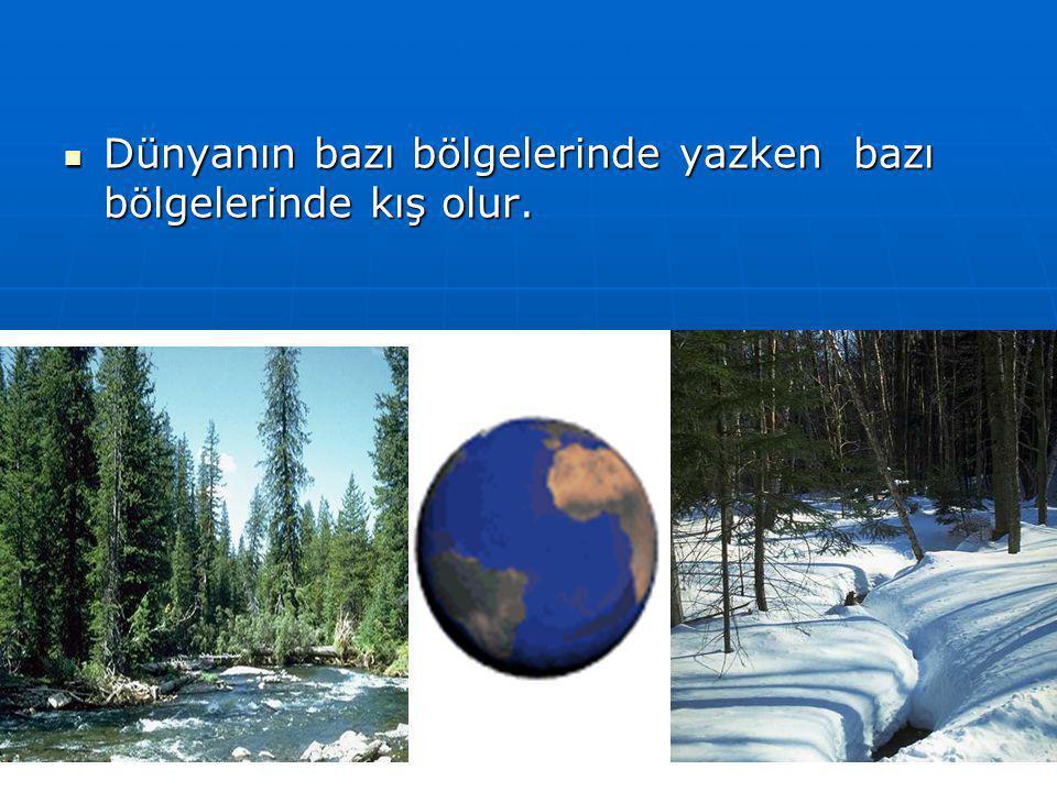 Dünyanın bazı bölgelerinde yazken bazı bölgelerinde kış olur.