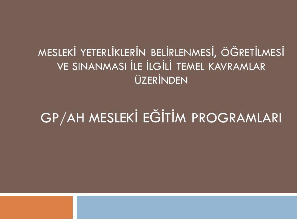 GP/AH MESLEKİ EĞİTİM PROGRAMLARI