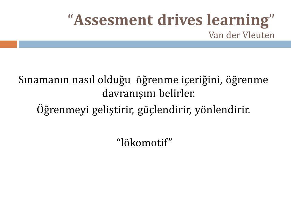 Assesment drives learning Van der Vleuten