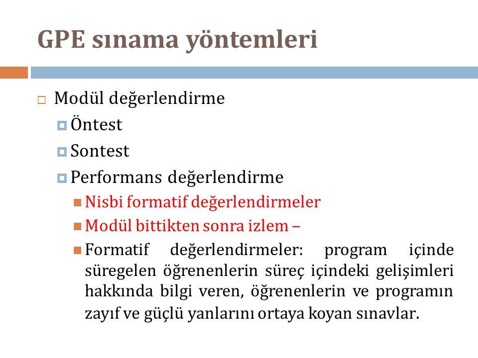 GPE sınama yöntemleri Modül değerlendirme Öntest Sontest