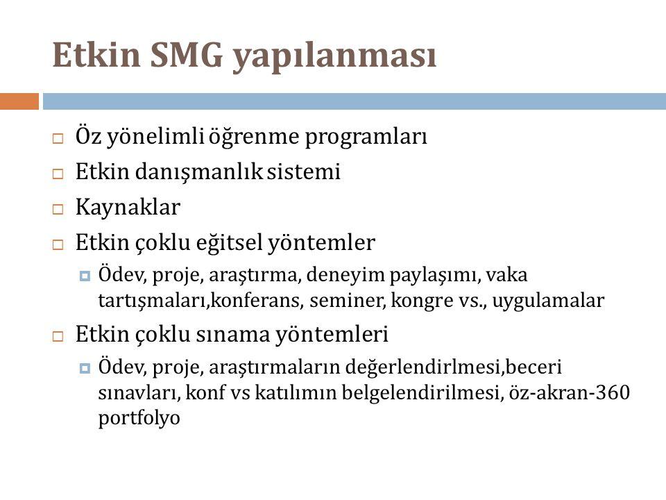 Etkin SMG yapılanması Öz yönelimli öğrenme programları