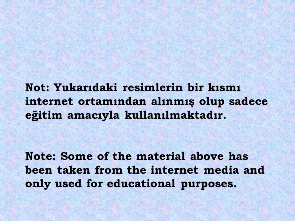 Not: Yukarıdaki resimlerin bir kısmı internet ortamından alınmış olup sadece eğitim amacıyla kullanılmaktadır.