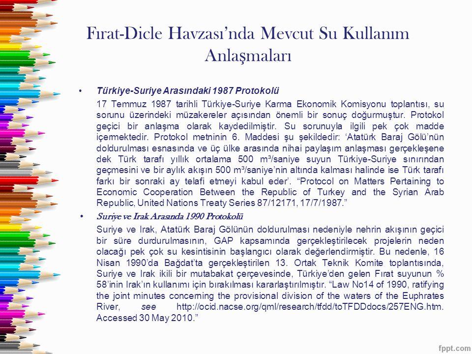 Fırat-Dicle Havzası'nda Mevcut Su Kullanım Anlaşmaları