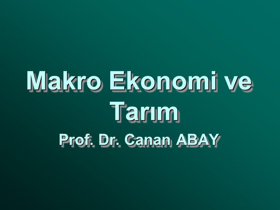 Makro Ekonomi ve Tarım Prof. Dr. Canan ABAY