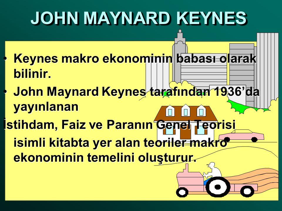 JOHN MAYNARD KEYNES Keynes makro ekonominin babası olarak bilinir.
