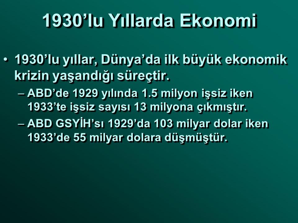 1930'lu Yıllarda Ekonomi 1930'lu yıllar, Dünya'da ilk büyük ekonomik krizin yaşandığı süreçtir.