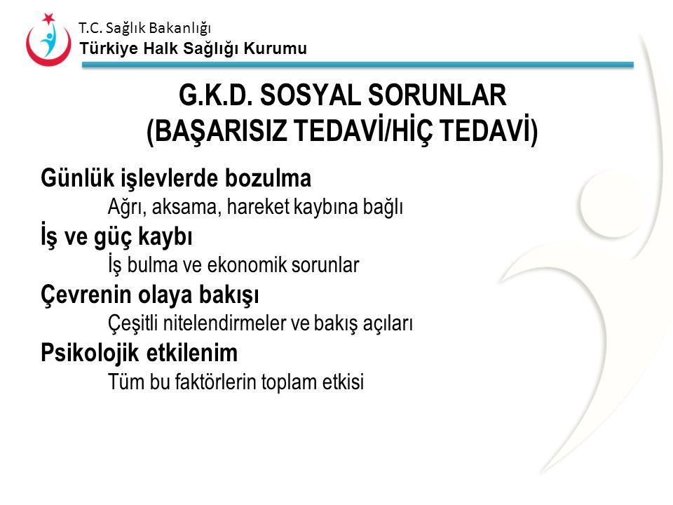 G.K.D. SOSYAL SORUNLAR (BAŞARISIZ TEDAVİ/HİÇ TEDAVİ)