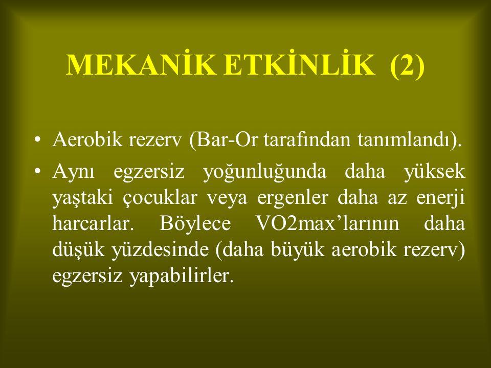 MEKANİK ETKİNLİK (2) Aerobik rezerv (Bar-Or tarafından tanımlandı).
