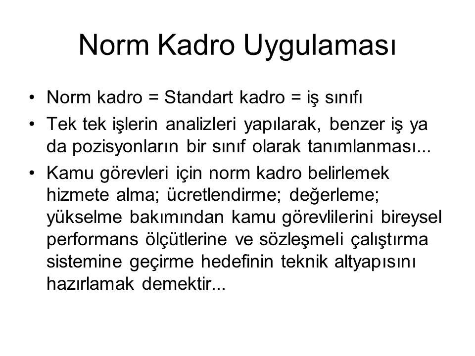 Norm Kadro Uygulaması Norm kadro = Standart kadro = iş sınıfı