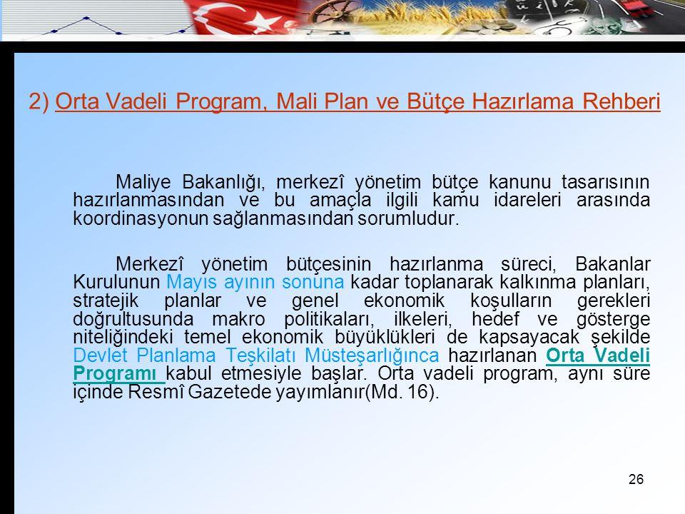 2) Orta Vadeli Program, Mali Plan ve Bütçe Hazırlama Rehberi
