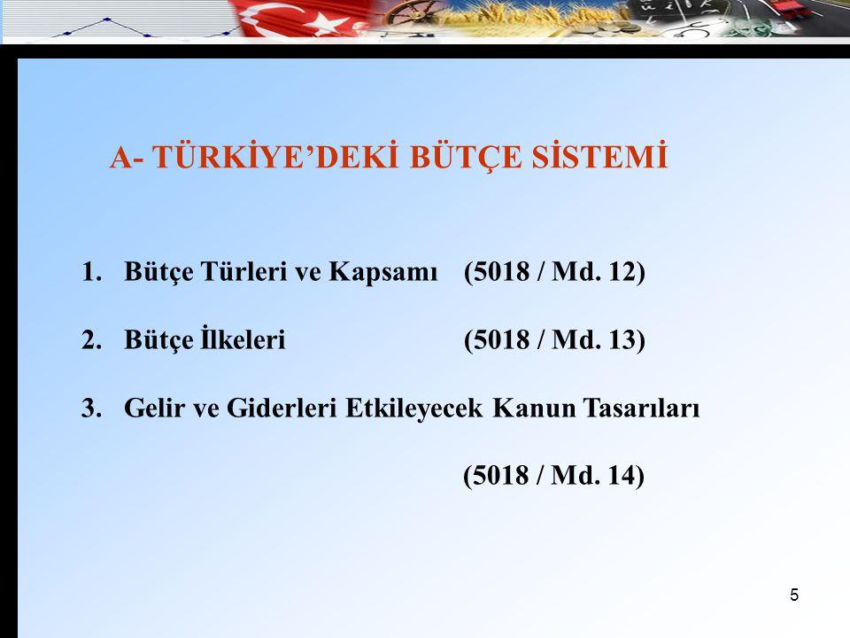 A- TÜRKİYE'DEKİ BÜTÇE SİSTEMİ