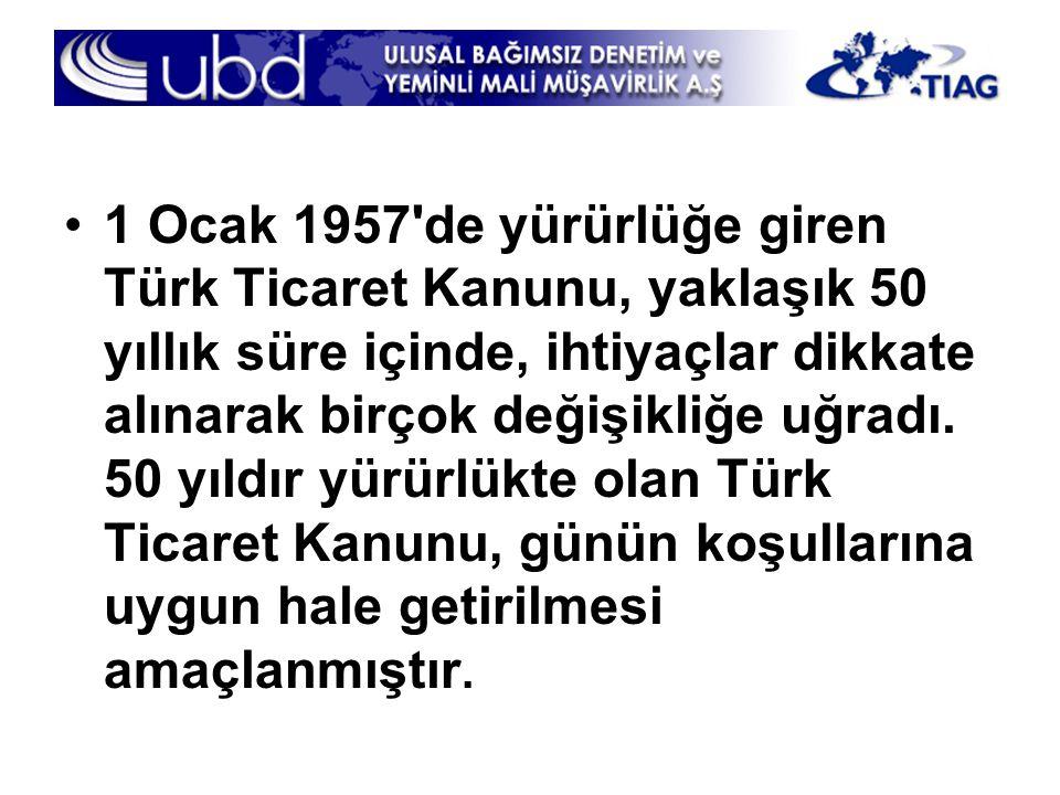 1 Ocak 1957 de yürürlüğe giren Türk Ticaret Kanunu, yaklaşık 50 yıllık süre içinde, ihtiyaçlar dikkate alınarak birçok değişikliğe uğradı.