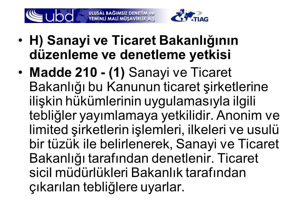H) Sanayi ve Ticaret Bakanlığının düzenleme ve denetleme yetkisi