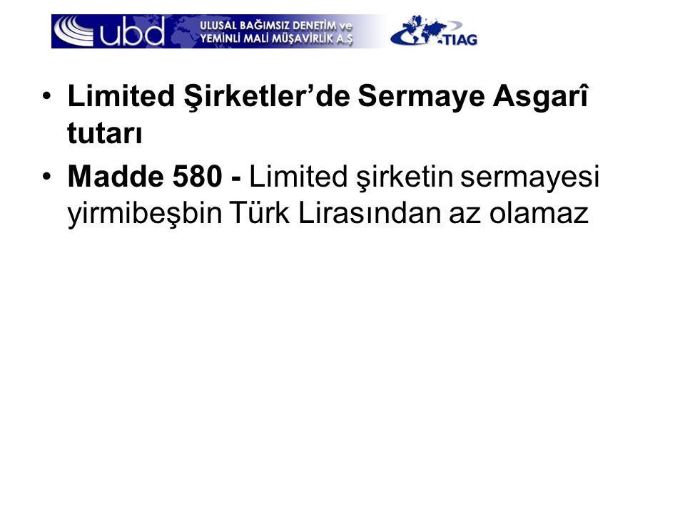 Limited Şirketler'de Sermaye Asgarî tutarı
