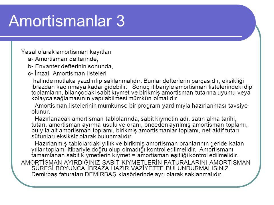 Amortismanlar 3 Yasal olarak amortisman kayıtları