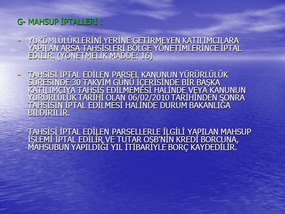 G- MAHSUP İPTALLERİ :