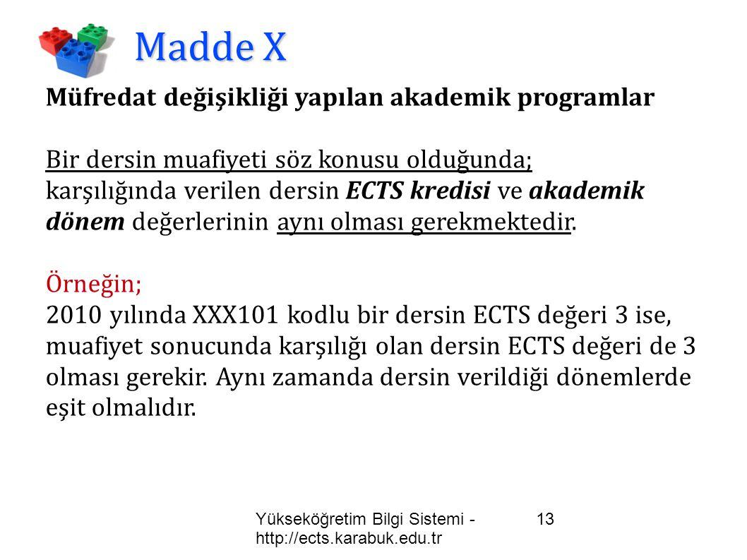 Madde X Müfredat değişikliği yapılan akademik programlar