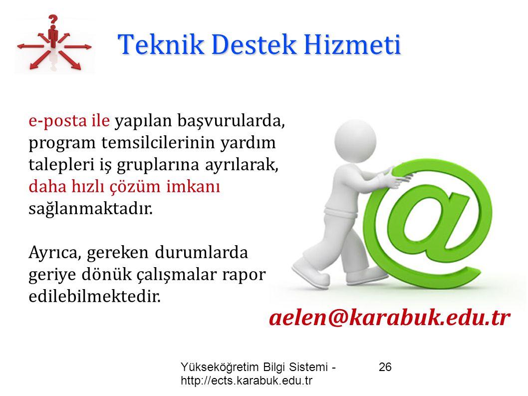 Teknik Destek Hizmeti aelen@karabuk.edu.tr