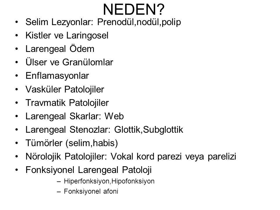 NEDEN Selim Lezyonlar: Prenodül,nodül,polip Kistler ve Laringosel